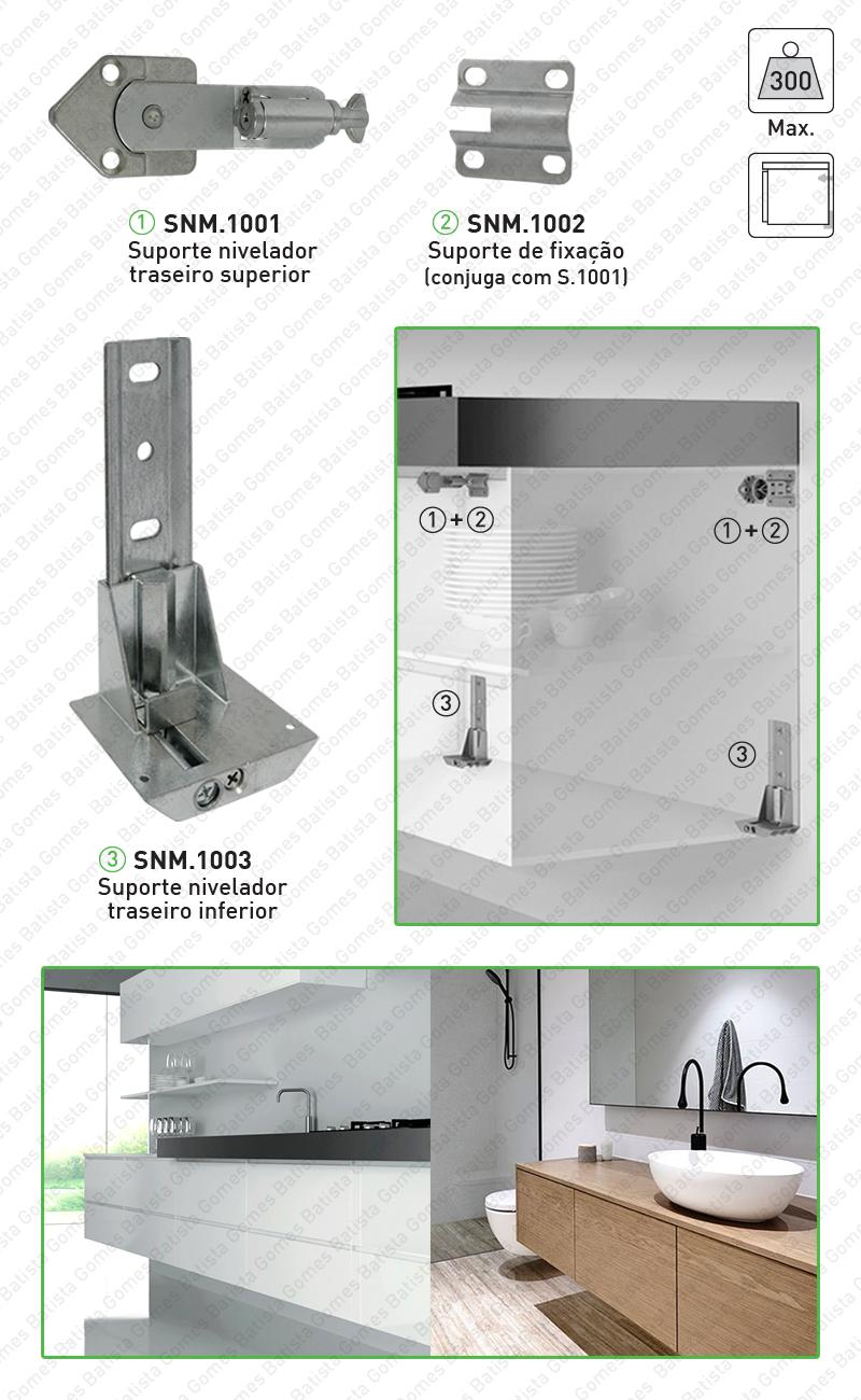 Batista Gomes - SNM.1001 / SNM.1002 / SNM.1003 - Suportes niveladores para armários grandes e suspensos