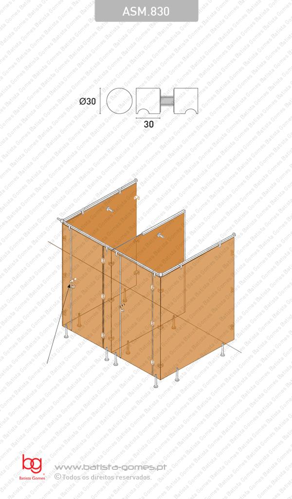 Par puxador fixo Ø30 para portas vidro ou madeira - INOX 304
