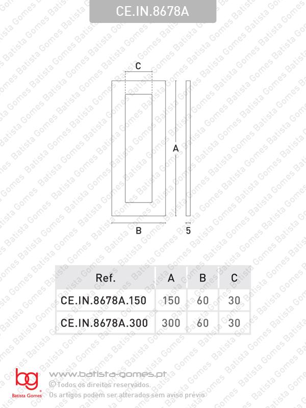 Puxador concha plana rectangular para porta vidro ou madeira - INOX