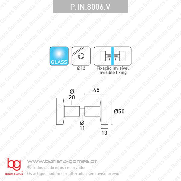 Par puxador fixo Ø50 para portas vidro ou madeira - INOX 304