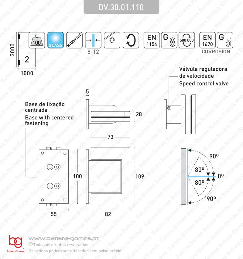 Dobradiça hidráulica parede / vidro 90º+90º - ALUMÍNIO