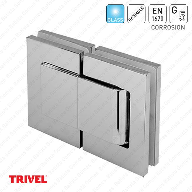 Dobradiça hidráulica vidro / vidro 90º+90º - ALUMÍNIO