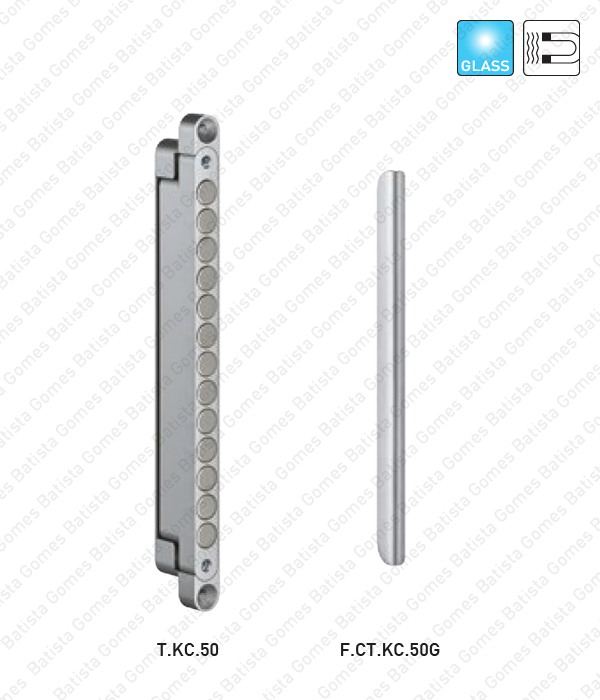 Trinco magnético / Chapa testa - aplicação portas em vidro