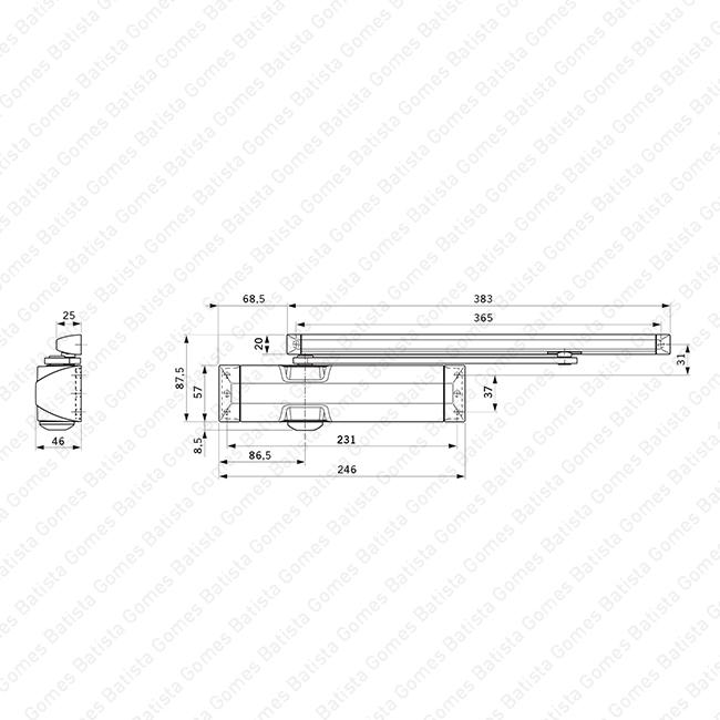 Mola aérea com braço guia deslizante - DORMA - Força 3/4 / 80Kg / 1100mm