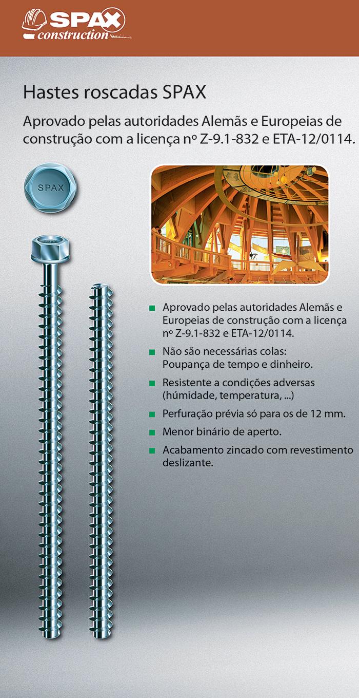 Batista Gomes - Hastes roscadas SPAX - Aprovado pelas autoridades Alemãs e Europeias de construção com a licença nº Z-9.1-832 e ETA-12/0114