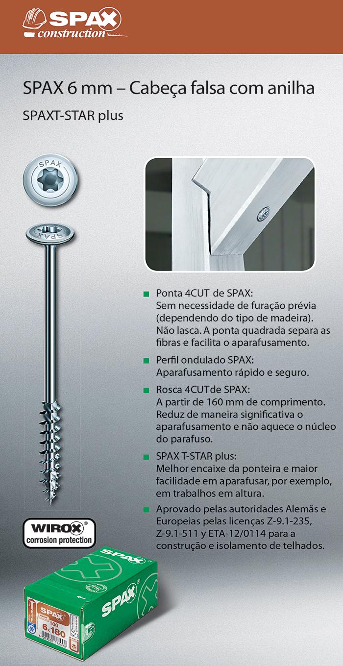 Batista Gomes - SPAX 6 mm - Cabeça falsa com anilha - SPAX T-STAR plus