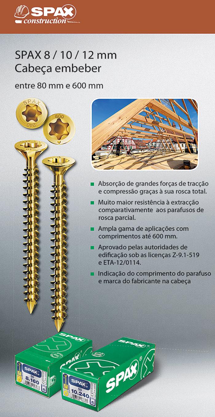 Batista Gomes - SPAX 8 / 10 / 12 mm - Cabeça embeber - Entre 80 mm e 600 mm