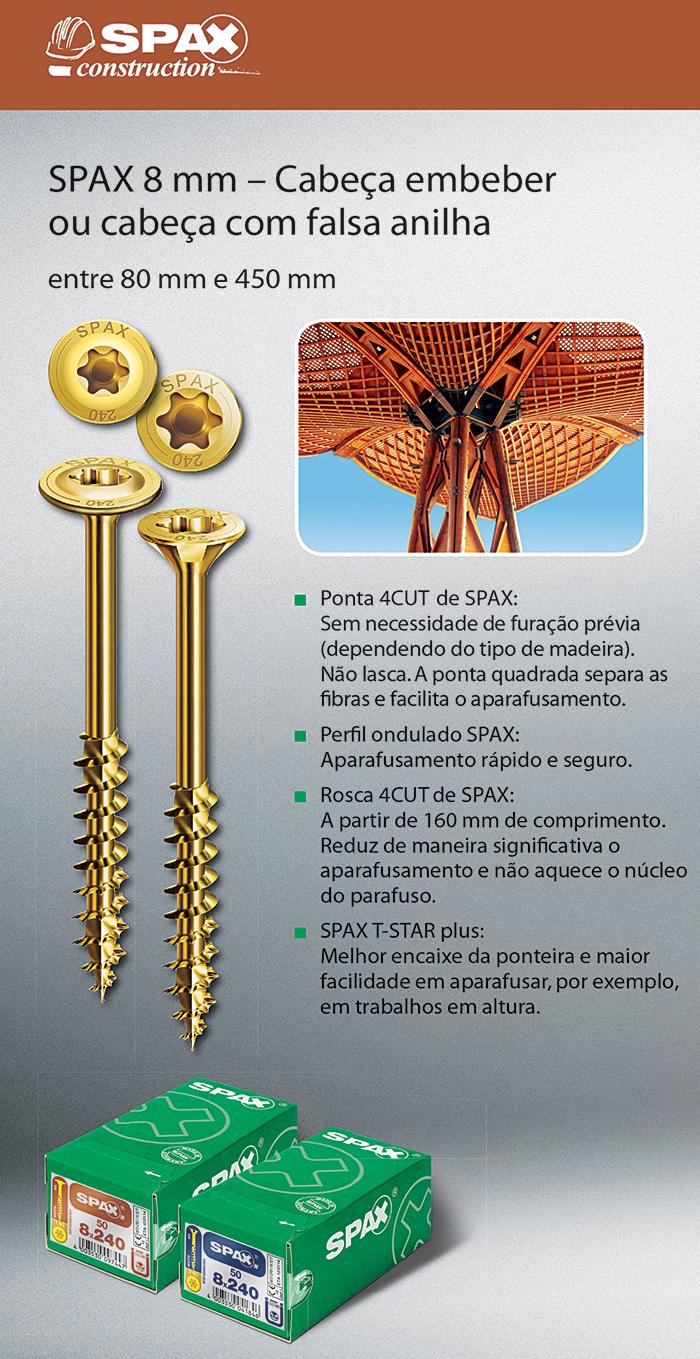 Batista Gomes - SPAX 8 mm - Cabeça embeber ou com falsa anilha - Entre 80 mm e 450 mm