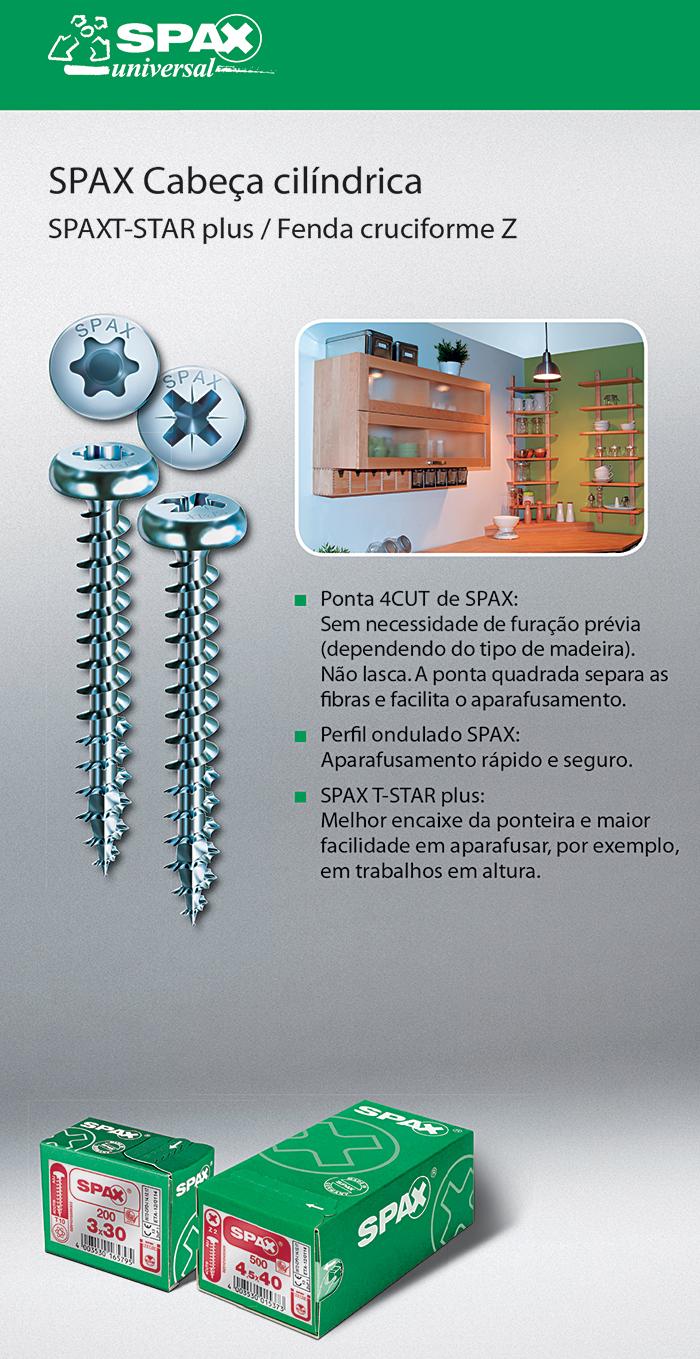 Batista Gomes - SPAX Cabeça cilíndrica - SPAX T-STAR plus / Fenda cruciforme Z