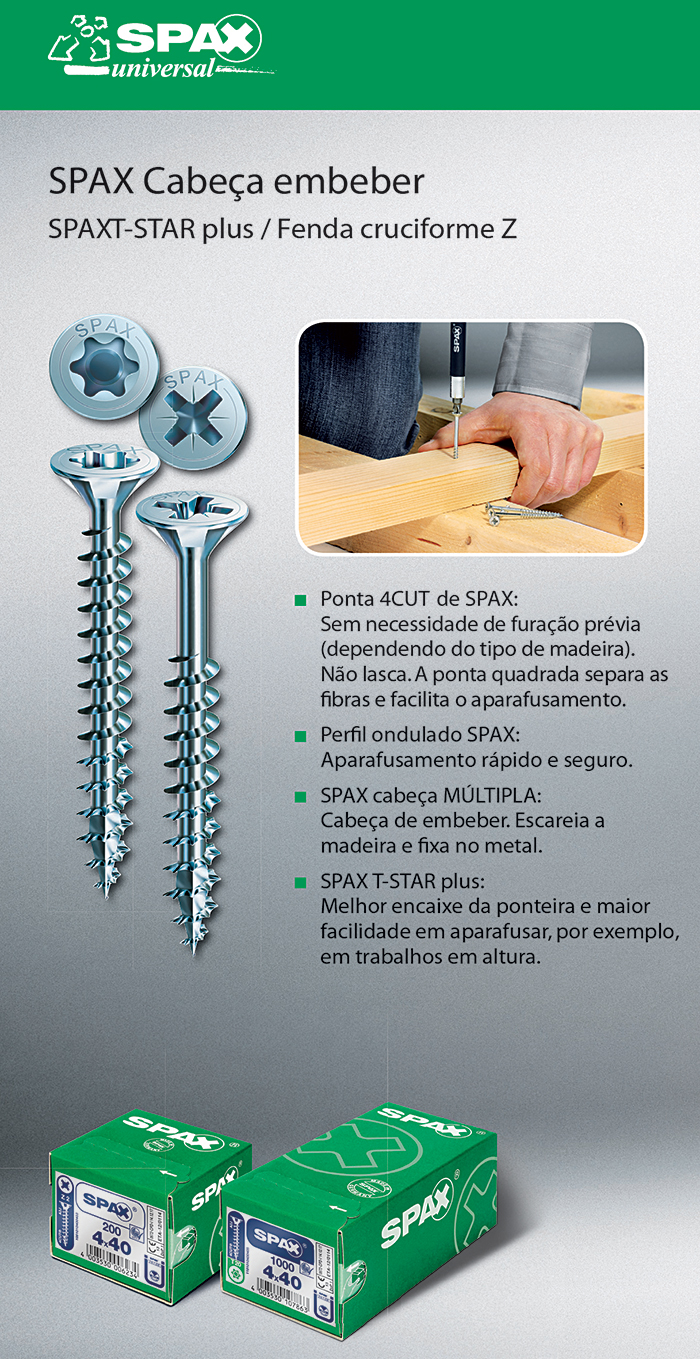 Batista Gomes - SPAX Cabeça de embeber - SPAX T-STAR plus / Fenda cruciforme Z