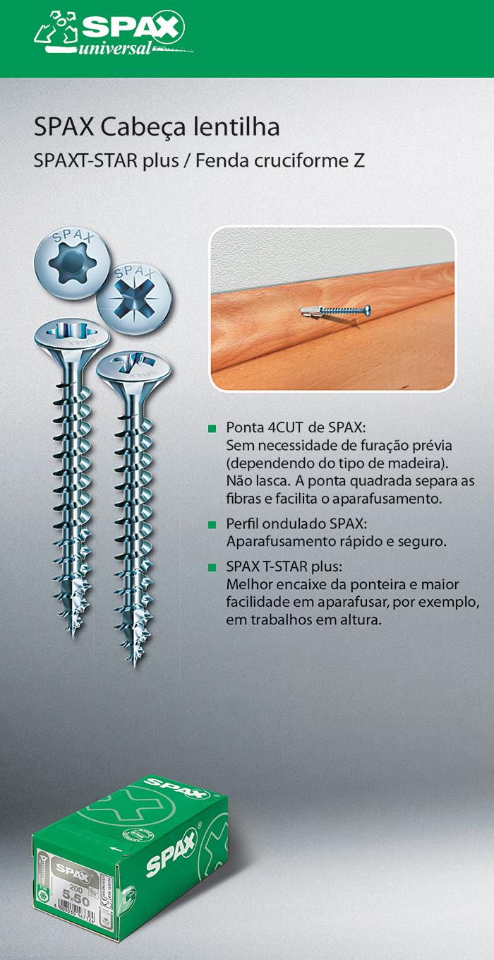 Batista Gomes - SPAX Cabeça lentilha - SPAX T-STAR plus / Fenda cruciforme Z