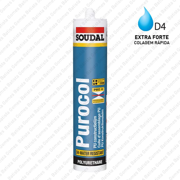 Batista Gomes - PUROCOL - Cola de montagem D4 / Transparente - Soudal
