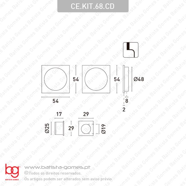 Kit conchas embutir quadradas 54x54