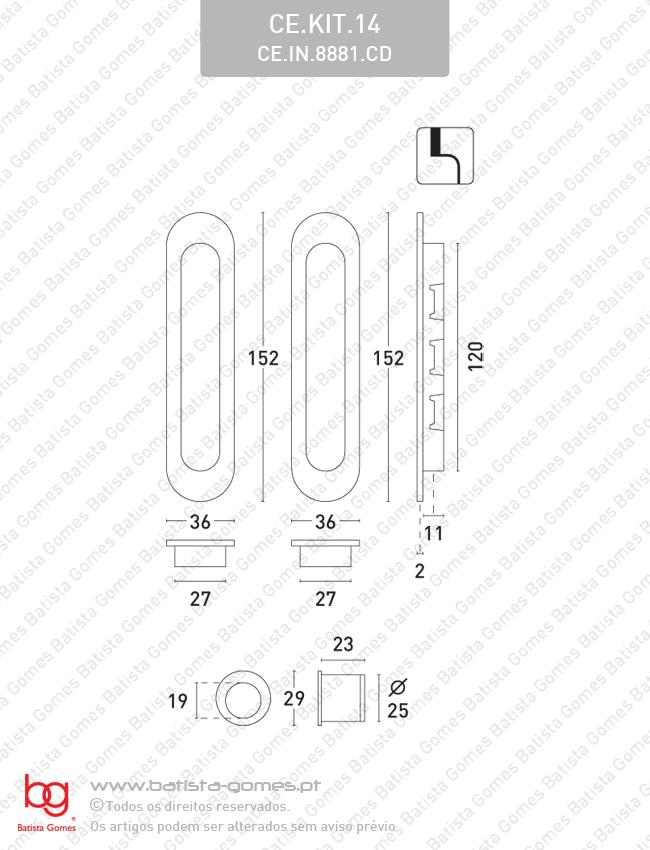 Kit conchas embutir ovais 152x36 - INOX