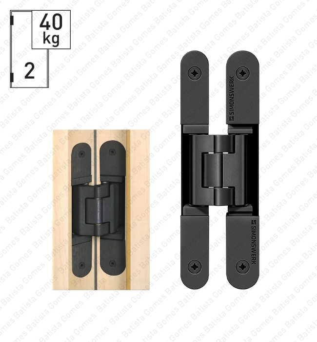 Batista Gomes - D.TE.240.3D Simonswerk - Dobradiça oculta / invisível TECTUS 3 D - Carga 60Kgs (2 Dobradiças)