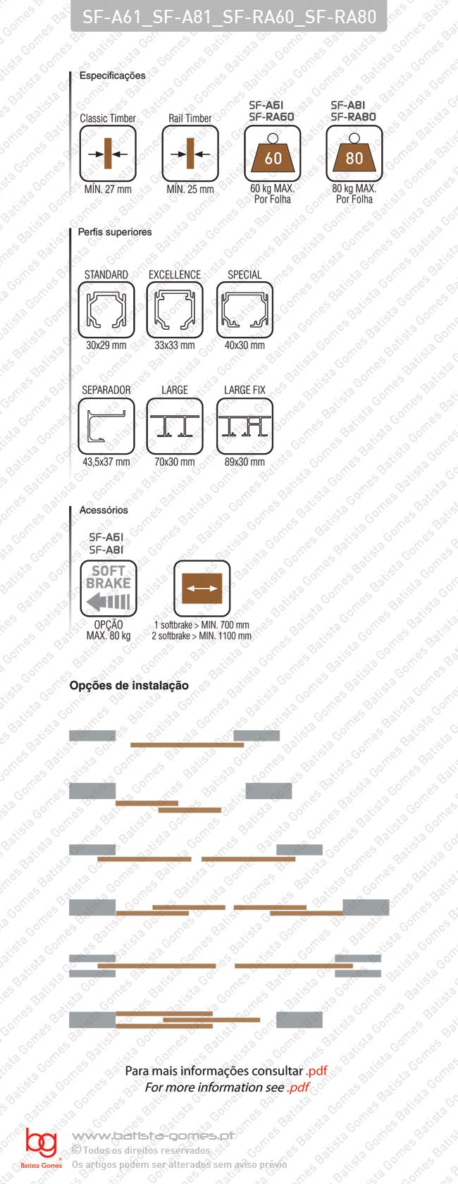 Sistema para divisões e portas correr de passagem em madeira / Suspensos - até 60 / 80Kg por folha