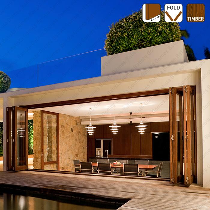 Batista Gomes - Fold Timber SF-I150 D - INOX - Articuladas | - Sistema para divisões e portas correr de passagem em madeira / Articuladas / Suspensos - INOX - até 150Kg por par de folhas