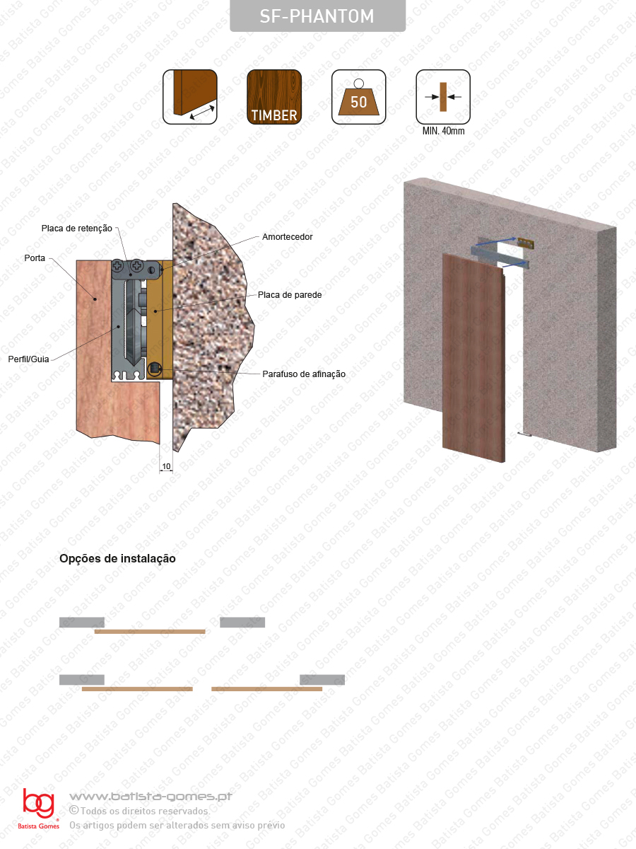 Sistema para divisões e portas correr de passagem em madeira / Suspensos - até 50Kg por folha