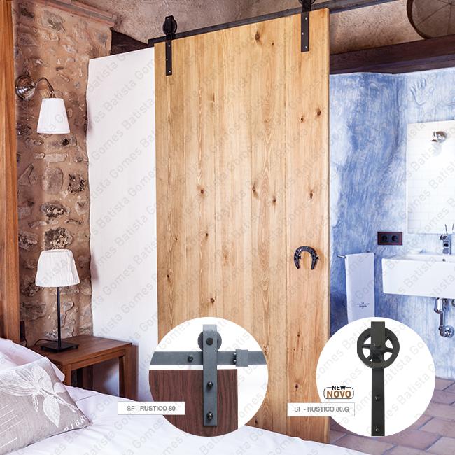 Batista Gomes - Rustico Timber / SF-Rustico 80/80.G | SAHECO - Sistema para divisões e portas correr de passagem em madeira / Suspenso - Até 80Kg por folha
