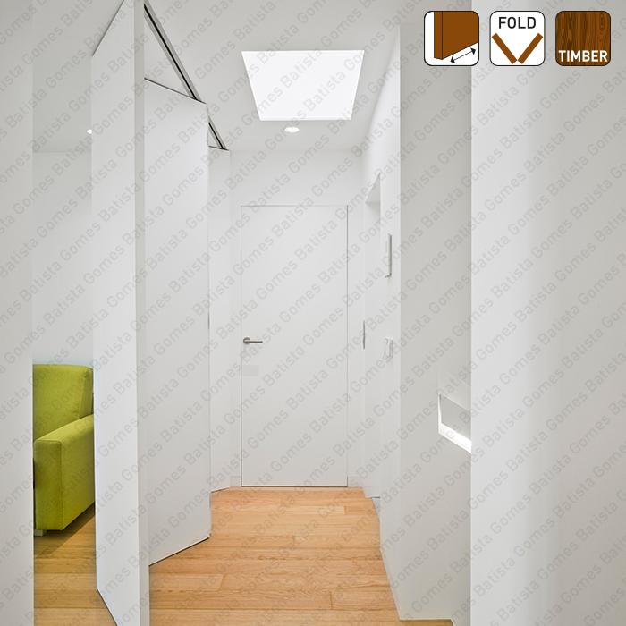 Batista Gomes - Fold Timber SF-A88 D Articuladas | SAHECO - Sistema para divisões e portas correr de passagem em madeira / Articuladas / Suspensos - Sem perfil inferior - até 80Kg por par de folhas