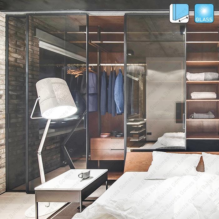 Batista Gomes - Frame Glass SV-X70 | SV-X110 | SAHECO - Sistema para divisões e portas correr passagem em vidro - Até 110Kg por folha