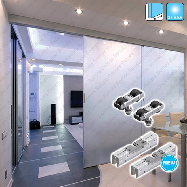 Batista Gomes - Classic Glass Easy SV-EASY 60-80 / SV-EASY LARGE - Sistema para divisões e portas correr passagem em vidro - Até 60 / 80Kg por folha