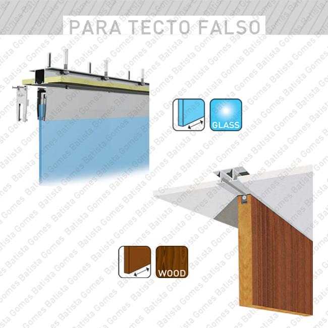 Batista Gomes - LARGE / LARGE FIX - Perfis superiores especiais para aplicação faceados com o tecto para sistemas de 40 até 125Kg por folha