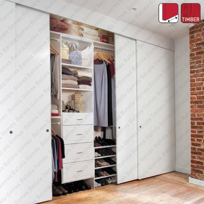 Batista Gomes - Duplo Timber SF-85 - Sistema para portas de correr para móveis e armários em madeira / Suspensas - Até 85Kg por folha
