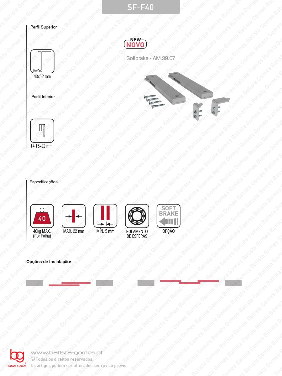 Sistemas para portas de correr para móveis e armários em madeira / Suspensas - Até 40Kg por folha / Com softbrake