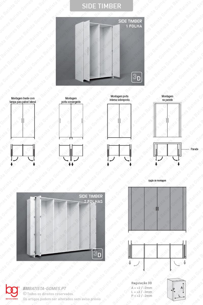Sistemas para portas de correr para móveis e armários em madeira / Pivotantes - Até 60Kg por folha